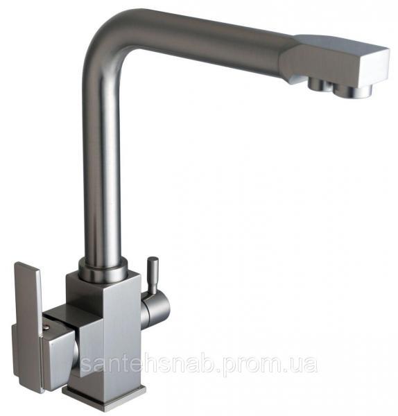Смеситель для кухни LAZER GLLR-0100 StSTEEL нержавейка комбинированный под осмос