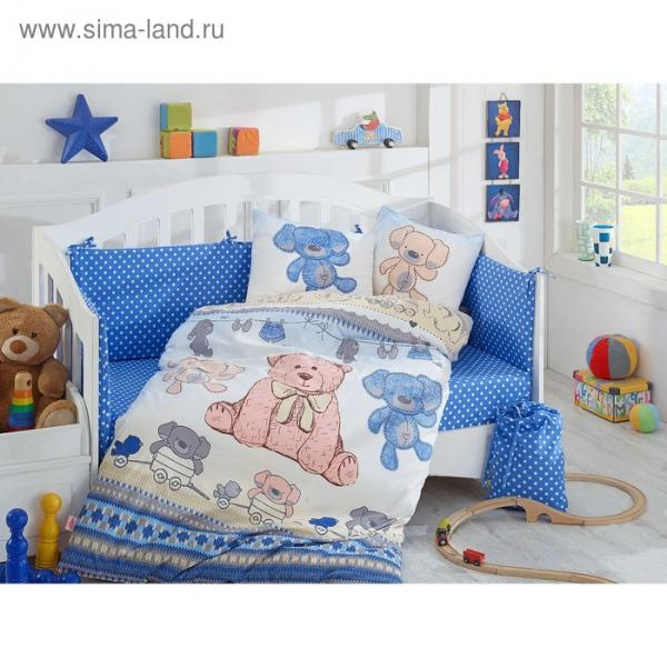 Комплект в кроватку Tombik, 10 предметов, цвет голубой, поплин