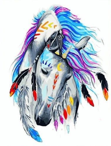 """Картина по номерам. Brushme """" Лошадь индиго """" GX23671"""