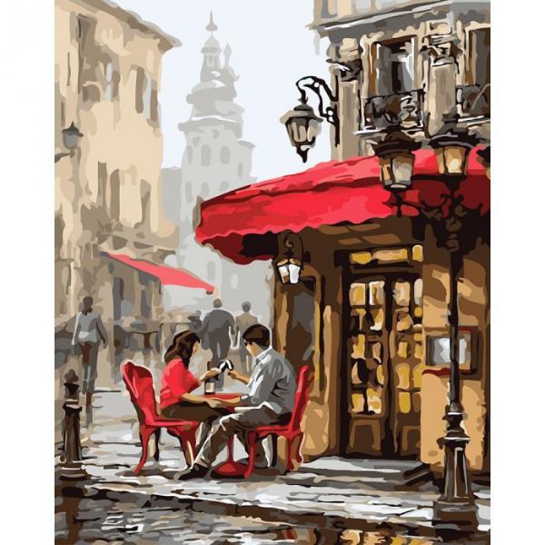 """Картина по номерам. Городской пейзаж """"Свидание в кафе"""" 40х50см. KHO2144"""