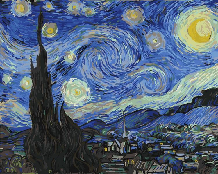 "Картина по номерам. Brushme ""Звездная ночь. Ван гог"" GX4756"