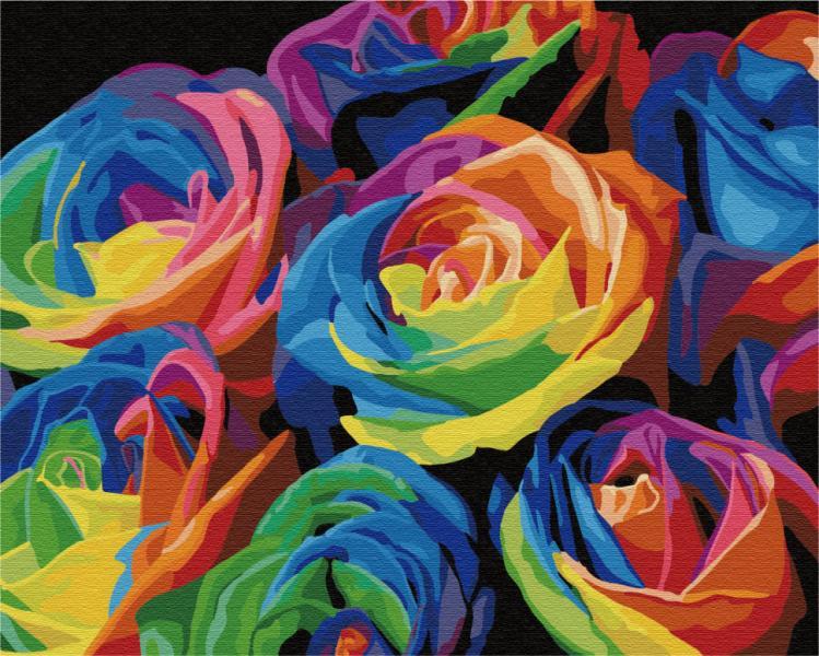 """Картина по номерам. Brushme """"Радужные розы"""" G057"""