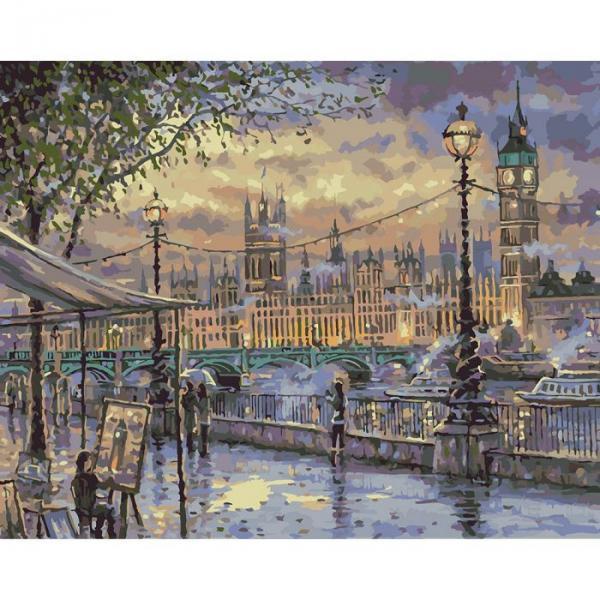 """Картина по номерам. Городской пейзаж """"Вечерний Лондон"""" 40х50см * KHO3513"""