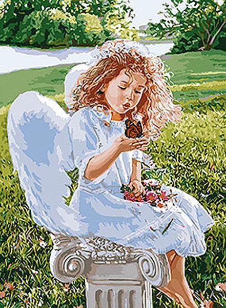 """Картина по номерам. Дети """"Дыхание ангела"""" 35*50см KHO2330"""