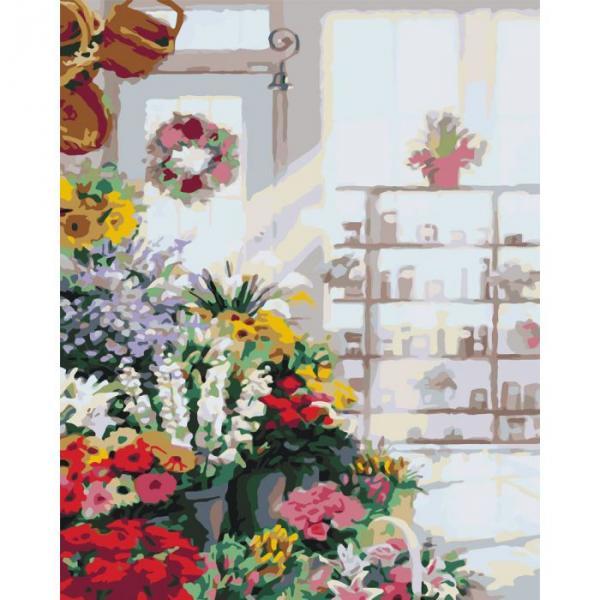 """Картина по номерам. Букеты """"В цветочном магазине"""" 40х50см * KHO2023"""
