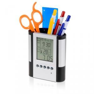 Фото Канцелярские товары (ЦЕНЫ БЕЗ НДС), Подставки настольные, боксы, держатели для бумаги Подставка для ручек-часы настольные