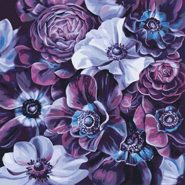 """Картина мо номерам. Букет """"Фиолетовое разнообразие""""  40*40см * KHO3016"""