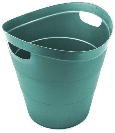 Корзина для бумаг цельная 14 л, зеленая