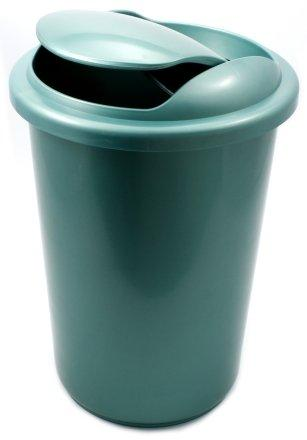 Корзина для бумаг цельная с крышкой 12 л, зеленая