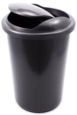 Корзина для бумаг цельная с крышкой 12 л, черная