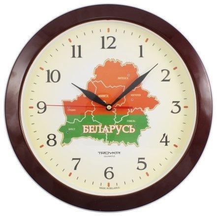 Часы настенные «Тройка» с символикой РБ «Карта РБ»