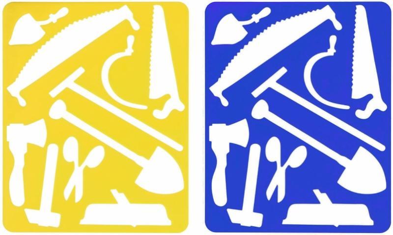Трафарет фигурный для рисования «Луч» 200*165 мм, «Инструменты», ассорти