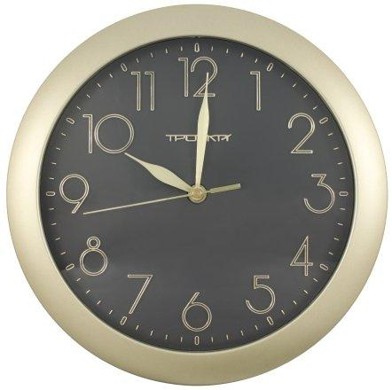 Часы настенные «Тройка» рамка золотистая, фон черный