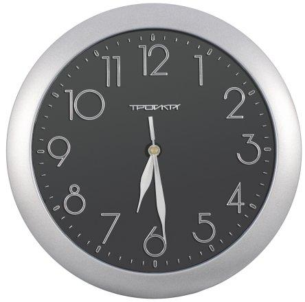 Часы настенные «Тройка» рамка серебристая, фон черный