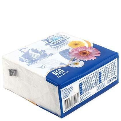 Салфетки сервировочные «Семья и комфорт» 24*24 см, 50 шт., «Морские»