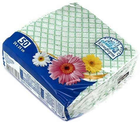 Салфетки сервировочные «Семья и комфорт» 24*24 см, 50 шт., «Сетка»