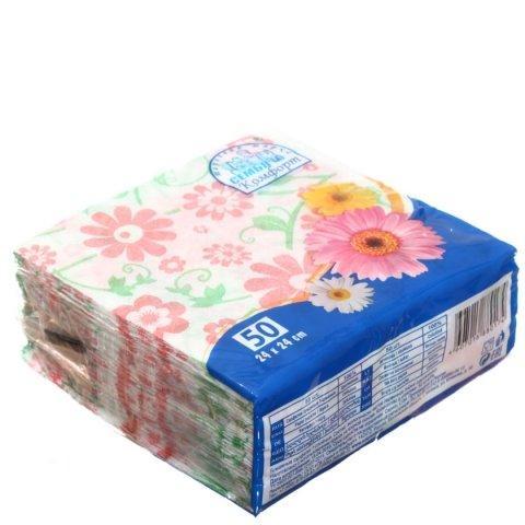 Салфетки сервировочные «Семья и комфорт» 24*24 см, 50 шт., «Цветок»