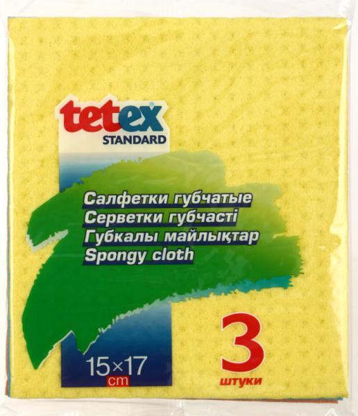 Салфетки губчатые Tetex 150*170 мм, 3 шт., ассорти