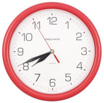 Часы настенные «Тройка» рамка красная