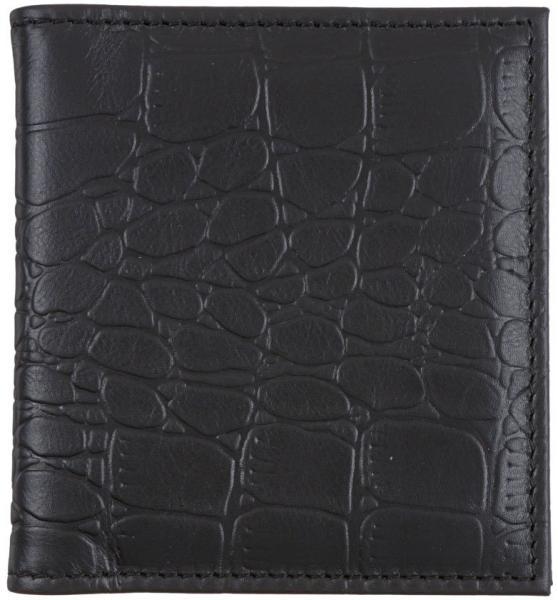 Визитница из натуральной кожи «Кинг» 4327 115*125 мм, 2 кармана, 18 листов, рифленая черная