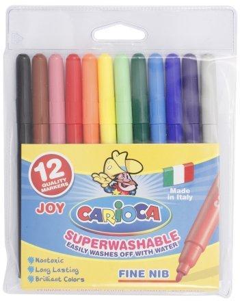 Фломастеры Carioca суперсмываемые 12 цветов, Joy, толщина линии 1-2 мм, вентилируемый колпачок