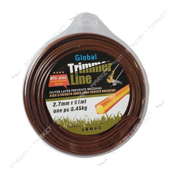Леска на триммер Trimmer Line NYL-plus 2.7 мм 61 м квадрат с двухслойной жилой
