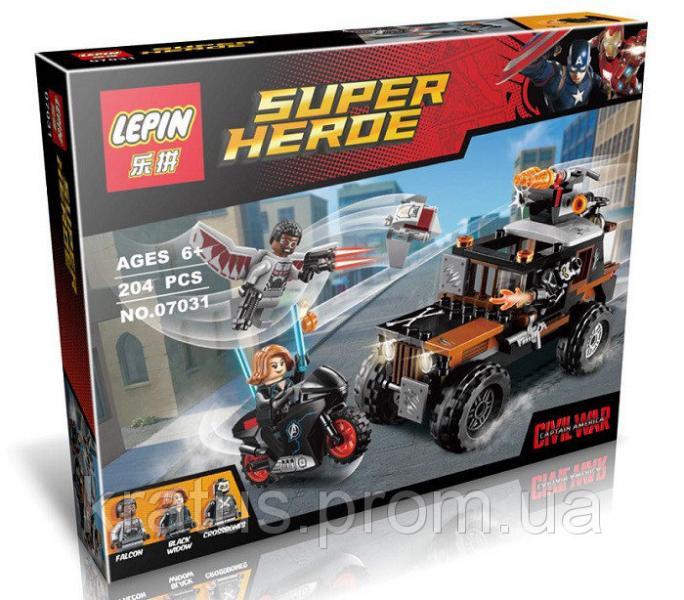 """07031 конструктор """"Опасное ограбление Кроссбоунса"""" Lepin серии """"Super Heroe"""", 204 дет."""