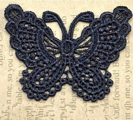 Фото Кружево ,тесьма ,сетка,резинка, Кружево капрон,жаккард,макраме Кружевная  бабочка   Чёрного  цвета  65 * 50 мм.  ( + -  2 мм. )