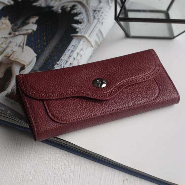 Кошелёк женский, 6 отделов, для карт, для монет, 2 наружных кармана, цвет бордовый