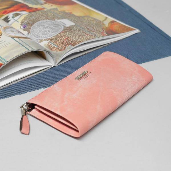 Кошелёк женский, 4 отдела, для карт, для монет, наружный карман, цвет розовый