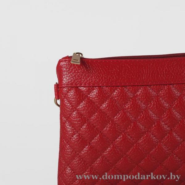 Фото ПОСМОТРЕТЬ ВЕСЬ КАТАЛОГ, Галантерея, Сумки женские  Сумка женская на молнии, 3 отдела, наружный карман, длинный ремень, цвет красный