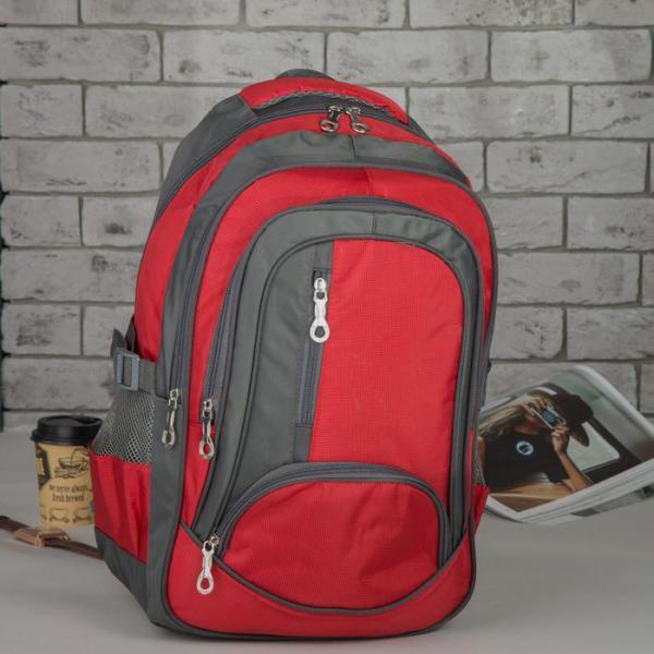 Рюкзак молодёжный, отдел на молнии, 4 наружных кармана, 2 боковые сетки, с пеналом, цвет серый/красный