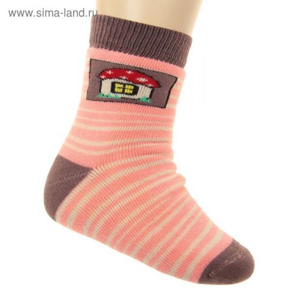 Носки детские плюшевые ПФС102-2534, цвет коралловый, р-р 16-18