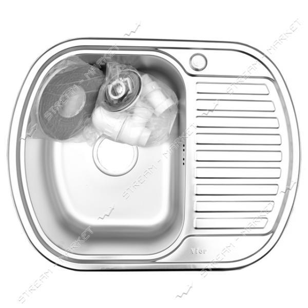 Мойка врезная ширина 628 мм * 488 мм глянец (большой сифон, гл.чаши 16-18 см, толщина 0, 6 мм)