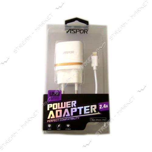 Сетевое зарядное устройство Aspor А828 5V/1A 1USB плюс micro USB кабель цвет белый