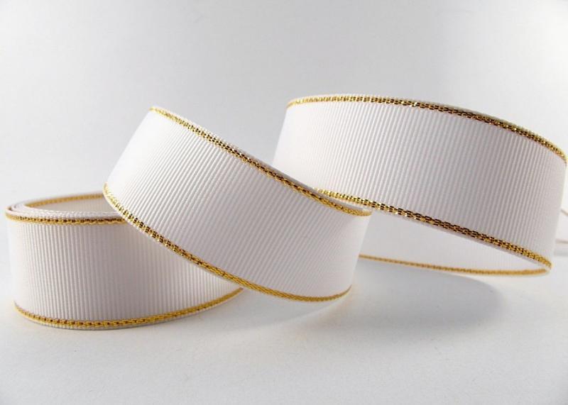 Фото Новинки Репсовая  лента  2,5 см.   Белая  с  золотым  люрексом.