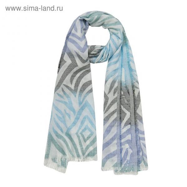 Палантин текстильный PJ1815_1 цвет голубой, размер 70х175