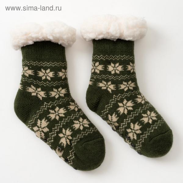 Носки новогодние детские с мехом внутри, Снежинки, цвет МИКС, размер 18-20