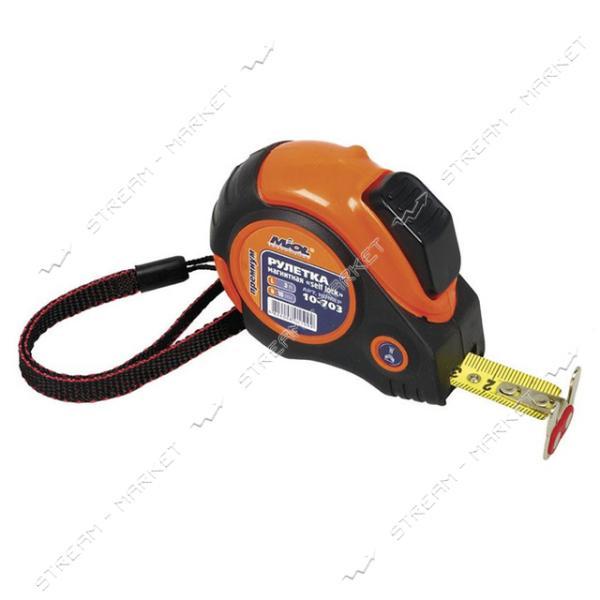 Miol 10-703 Рулетка магнит. self lock обрезинен. с двусторонн. лентой 3м, PREMIUM
