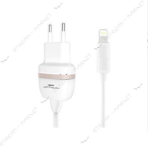 Сетевое зарядное устройство KONFULON KFL-С25 плюс кабель Lightning USB/1А белый/золото