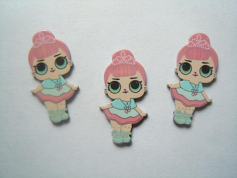 Фото Серединки ,кабашоны, Кабашоны детские мультики Маленькая  пластиковая  серединка  29 * 15 мм.   Лол . (  Розово - голубая )  с  короной.