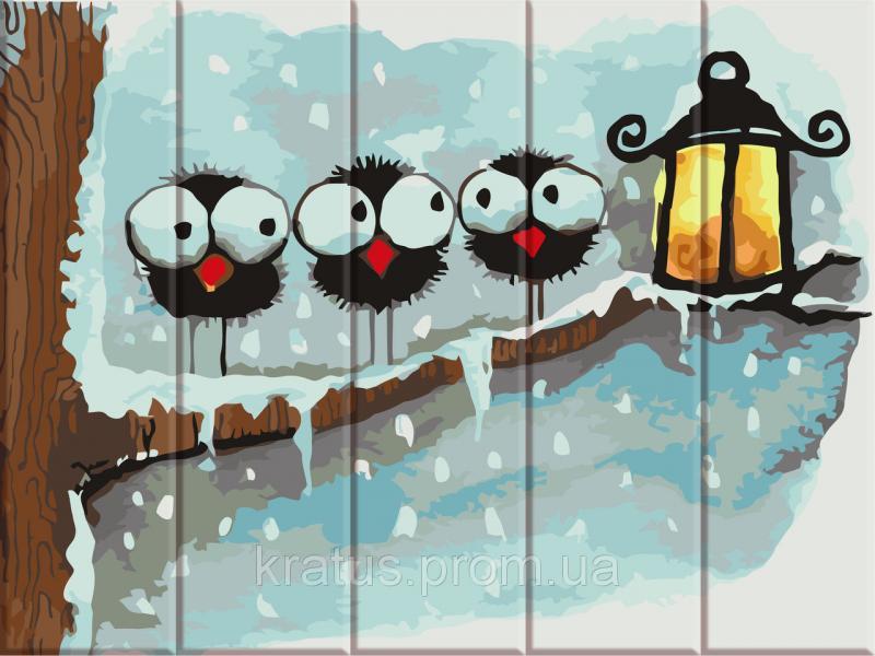 ASW 058 Зимние птички Картина по номерам на дереве 30х40 см
