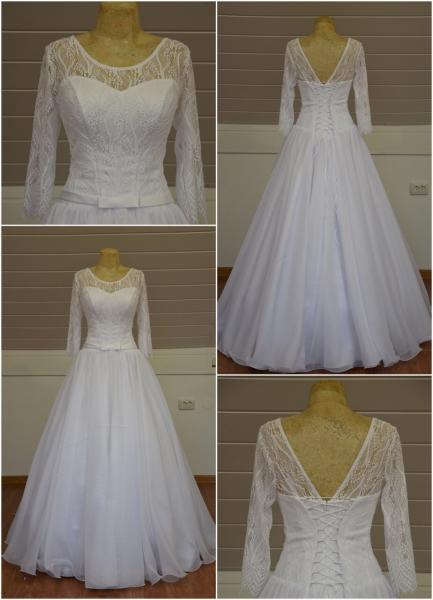 Непышное легкое свадебное платье с рукавами  Анфиса