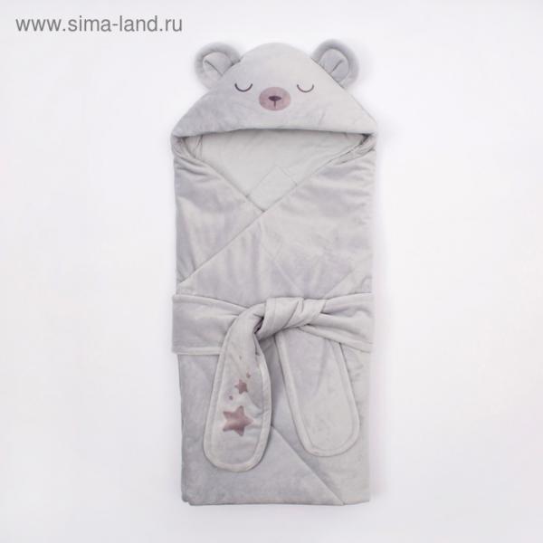 """Конверт-одеяло Крошка Я """"Мишутка"""", серый, рост 50-62см"""