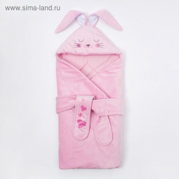 """Конверт-одеяло Крошка Я """"Зайчишка"""", розовый, рост 50-62см"""