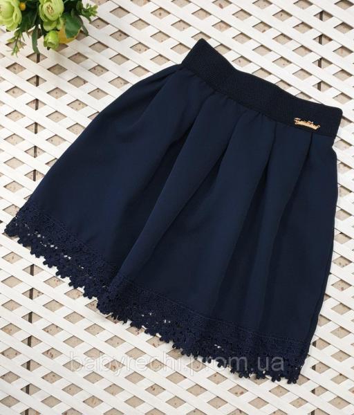 Детская школьная юбка для девочки с кружевом Ромашка (S, М , Л ,ХЛ )) л