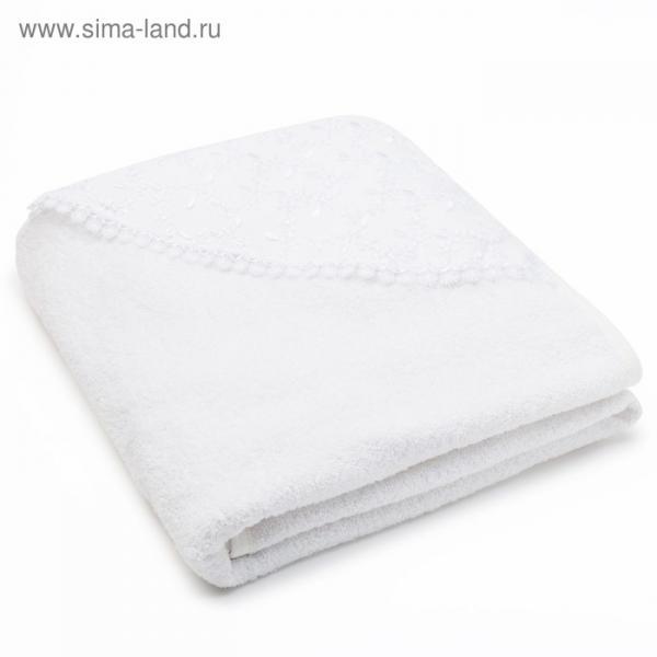Полотенце-уголок для крещения, размер 100*100 см, цвет белый К40