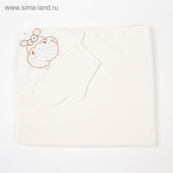 "Полотенце-уголок ""Бегемот"", размер 100х110 см, цвет бежевый К24/3"