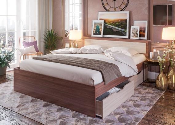 Фото Кровати Кровать Гармония с ящиками 1,2м (Стендмебель)
