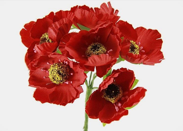 Фото Цветы искусственные, Цветы тканевые Мак  4,5 см.  тканевый ,  Красного  цвета  ( новый ) , на  проволоке  7 см.  Упаковка  6 цветков.